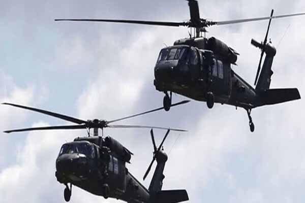 پرواز بالگردهای آمریکایی بر فراز زندان داعشی ها در حسکه سوریه