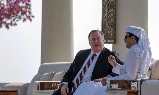 ملاقات امیر قطر با پامپئو